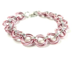 Chainmaille Mobius Bracelet In Pink And Silver Anodized Aluminum
