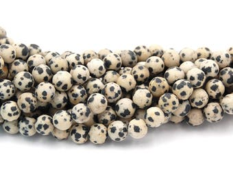 Matte Dalmation Jasper 8mm round beads -15 inch strand