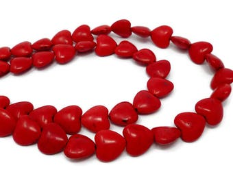 Red Howlite - Heart Bead - 14mm x 14mm x 7mm - Whole or Half Strand - 30 or 15 beads - Cherry Scarlet Crimson - Synthetic Turquoise - hearts