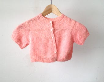 pink MID CENTURY short sleeve children's toddler SWEATER soft lightweight pretty in pink top cardigan sweater