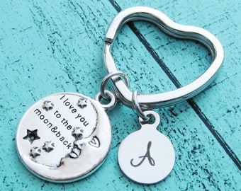 I love you to the moon and back keychain, gift for him, Christmas gift for her, wife, Mother's Day, gift for best friend, sister, mom dad
