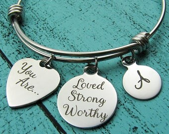 you are loved strong worthy bracelet, addiction recovery gift, cancer survivor, inspirational gift for Mom best friend sister niece aunt