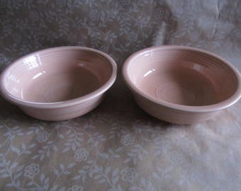 "2 Vintage HLC Fiestaware 7"" Cereal Bowls Fiesta Retired APRICOT Peach"