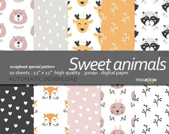 Animals Digital paper, Animals background, children, Woodland Animals, Animal scrapbooking paper, blog background, card making fox deer bear