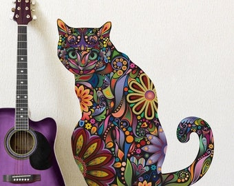ON SALE Sitting Cat Wall Sticker - Repositionable Floral Cat Wall Decal
