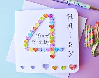 4th Birthday Card - Custom Personalised Age 4 Card - Colourful 4th Birthday Card - Happy Birthday - Handmade - Son Daughter Boy Girl (BHA04)