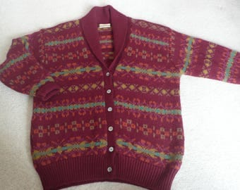 """Handknit style vintage fairisle cardigan by Next burgundy pure wool L up to 50"""" chest"""