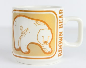 vintage mug, Brown Bear Mug, Critters Series, Crown Lynn, New Zealand, vintage kitchen, vintage mug, animal mug, collectible mug, critters