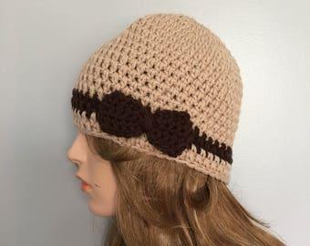 SALE Crochet Beanie Hat - BEIGE/BROWN