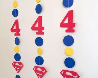 Superman Birthday Decorations- SuperMan Garland- Super Man Birthday banner- Superman 1st birthday Decor-