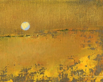 Original Oil Painting Landscape Painting Abstract by John Shanabrook - 5 x 7 - The Golden Shore