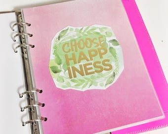 SALE A5 Size Watercolor Choose Happiness Quote Dashboard Green and Pink Floral Laminated Dashboard A5 Filofax Large Kikki k Planner