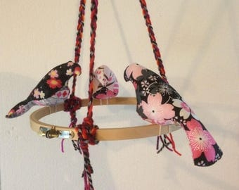 Pink birds on a hoop mobile sakura flowers pink donuts fabric hearts and blossoms birds plushies