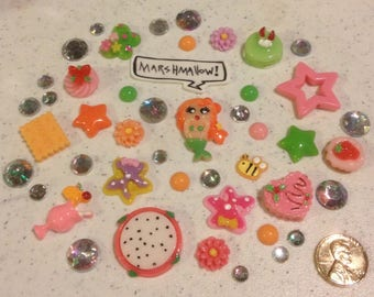 Mermaid Decoden kit collection red, yellow, pink, rainbow rhinestones kawaii phone case decoration NSFW