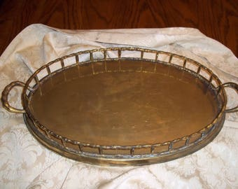 Large OVAL Brass faux bamboo tray w handles, very nice vintage serving tray