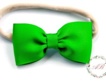 Green Bow Headband - Newborn Green Bow Headband - Baby Bow Headband - Emerald Green Bow Headband