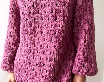 Pure Cotton Summer Sweater Jumper. Hand Knitted. Old Pink