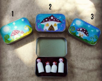Toadstool tins with 4 tiny hand painted 'children of the forest' peg dolls