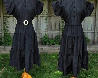 vintage 40s black taffeta tiered dress b34 leslie fay design formal dress free shipping