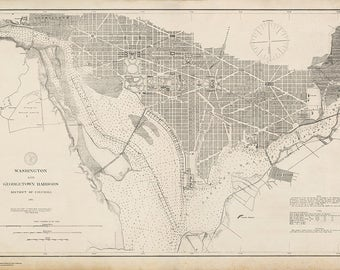 1882 Nautical Chart of Washington and Georgetown Harbors
