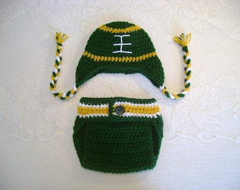 READY TO SHIP - 0 to 3 Month Size - Green Bay Packers Inspired Crochet Football Hat and Diaper Cover Photo Prop Set