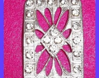 Large Victorian Art Deco Rhinestone Shoe Buckle, Jewelry, Bracelet, Pendant