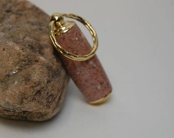 Handmade Pill Holder Key Chain- Salmon Corian Acrylic