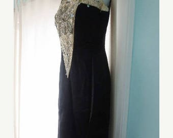 30% OFF SALE Vintage Beaded Dress Black Ivory Long Rhinestones Sequins Dressy Formal Occasion