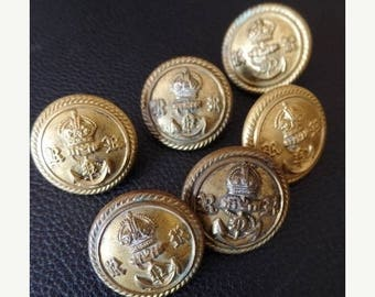 """30% OFF SALE Antique Military Buttons WWII British Navy Reserves Lot of 6 Gold Brass 7/8 """" Crown Anchor English Rr Uniform 22mm"""