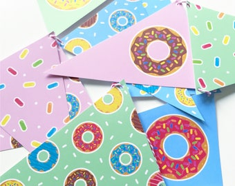 Cute 90s Inspired Doughnut Bunting with Striped String