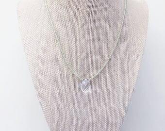 Peridot and Crystal Quartz Drop Necklace || Gemstone Necklace, Peridot Necklace, Quartz Necklace, Teardrop Pendant