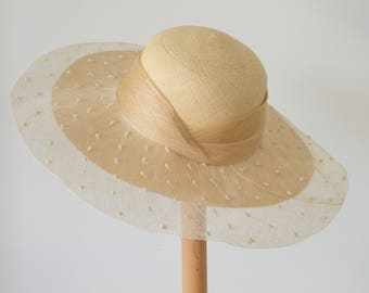 ladies wide brim summer straw hat / elegant sun hat for women / natural summer hat for a special event / statement hat / race day hat