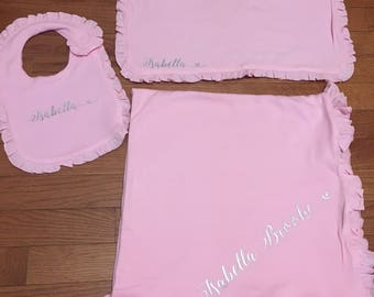 Personalized Name or Monogram Baby Blanket Bib & Burp Cloth Gift Set