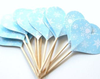 Snowflake Heart Cupcake Toppers, Winter Wonderland, Party Decor, Set of 12