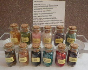 Set - 12 Bottles of Healing Gemstones and Crystals- for Jewelry Making or Other Craft Supplies