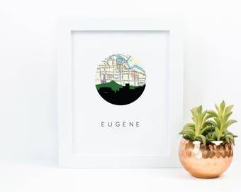 Eugene Oregon map art | Eugene map print | Eugene Oregon gifts | Oregon art print | dorm room decor | college graduation gift | Eugene OR