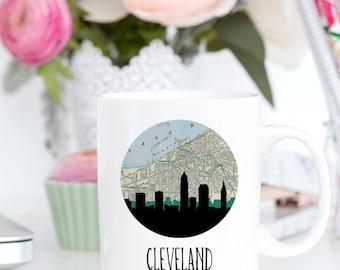 Cleveland skyline art mug | Cleveland mug | Cleveland Ohio mug | Ohio home | city skyline mug | city map art mug | city map mug | Ohio gift