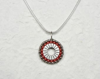 Hand Beaded Industrial Washer Pendant Silver/Salmon