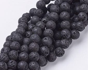 Black Lava Stone natural 8mm round gemstone beads for your art or jewelry projects (PH1086)- 10 beads- ship from Canada