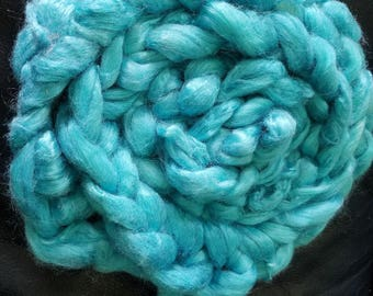 "1oz 100 % tussah silk roving hand dyed for spinning yarn making needle felting fiber arts supplies ""cool water"" blue tonal colorway"