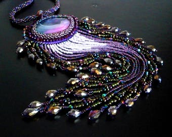 Agate Necklace, Purple Necklace, Unique Necklace, Beadwork Necklace, OOAK Bead Embroidered