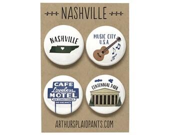 Nashville, Nashville badges, Nashville magnets, Nashville buttons