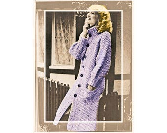 Instant Download PDF Knitting Pattern to make a Womens Knee Length Moss Stitch Chunky Winter Coat in 3 sizes to fit 34 to 38 inch bust