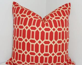 FALL is COMING SALE Outdoor Terracotta/Tan Geometric Pillow Cushion Cover Porch Pillow 16x16