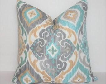 OUTDOOR Richloom Diamond Grey Blue Beige Spa Blue Ikat Pillow Cover Patio Decor Size 18x18