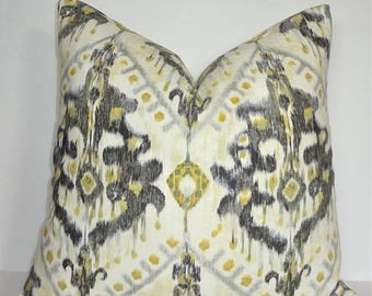 SPRING FORWARD SALE Grey Yellow Ivory Ikat Pillow Cover Home Decor by HomeLiving Size 18x18