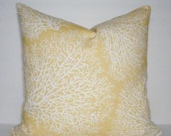 SPRING FORWARD SALE Blue Yellow Grey Coral Print Pillow Cover Ocean Blue Coral Print Pillow Cover Nautical Beach Coral 18x18