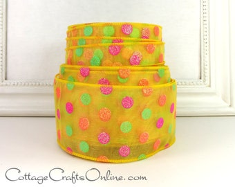 "Wired Ribbon 2 1/2"", Yellow Sheer, Green, Orange, Pink Glittered Polka Dots, THREE YARDS, #7042549 ""Candy Dots"" Spring Wire Edged Ribbon"
