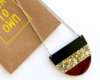 Yoo Split Necklace - Original Design by Each To Own - Laser Cut Acrylic Necklace - Black, Gold Glitter, Tortoiseshell