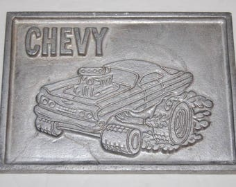 Chevy Funny Car Muscle Car Vintage Metal Art Plate Transfer Mouse House Ed Roth Vintage 1960s 1970s Rare
